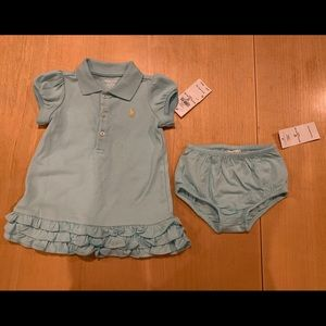 Ralph Lauren turquoise dress/bloomers, 6m